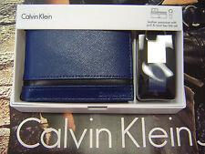 CALVIN KLEIN MEN'S LEATHER BIFOLD WALLET & KEY FOB SET BLUE