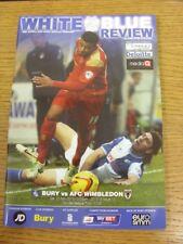 23/11/2013 Bury v AFC Wimbledon  . Bobfrankandelvis (aka Footy Progs) sellers of