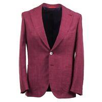 Isaia Modern-Fit Fuchsia Pink Woven Wool-Silk-Linen Sport Coat 38R (Eu 48) NWT