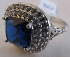 Ring Size 8 Simulated Brilliant Blue Sapphire Emerald Cut CZ Silver NWT #6