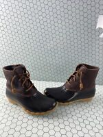 NWB Sperry Top-Sider SALTWATER Brown Leather/Rubber Rain Boots Women's Size 8.5