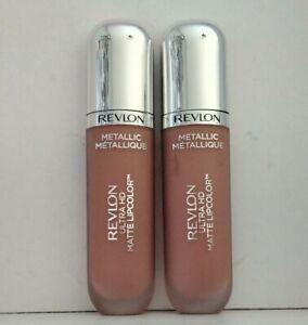 Revlon Ultra HD Metallic Matte Lip Colour  x 2 Rouge A Levres New  715 Flamme