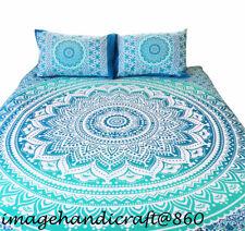 Single/Queen Size Bed Quilt/Doona/Duvet Cover Set Ombra Green Mandala WithPillow