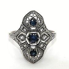 Ring  Saphir & Weiß Topas Saphire  925 Sterling Silber ANTIK STYLE