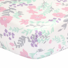 Floral Fitted Crib Sheet - Pink Mint Green Purple Grey - 100% Cotton Sateen