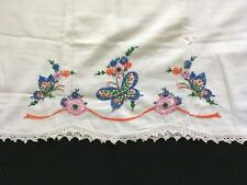 vintage pillowcase embroidered butterfly floral STANDARD blue pink green ivory