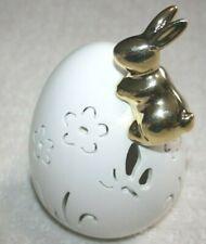 "Easter Gold Bunny on White Egg Decoration Porcelain LED Light Up Figurine NEW 7"""