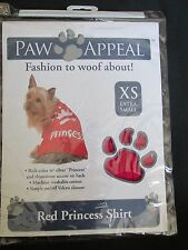 BRAND NEW PAW APPEAL DOG/PUPPY PET FASHION RED & SILVER PRINCESS SHIRT SIZE XS