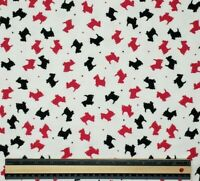 Scottie Dog Toss Hot Pink Black With Polka Dots 100% Cotton Flannel BTY 36 X 42