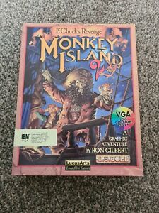 "IBM PC - MONKEY ISLAND 2 - LUCASARTS - 3.5"" FLOPPY BIG BOX COMPUTER GAME VINTAGE"