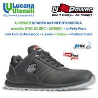 UPOWER SCARPA ANTINFORTUNISTICA STIG S3 SRC Pelle Lavoro Unisex OFFERTA Scarpe