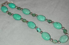 "Chinese Turquoise Chunks 19"" Necklace 8mm Round Sterling Silver and Findings"