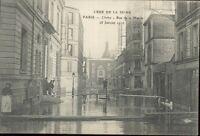 92 - cpa - Crues de 1910 - CLICHY - Rue de la Mairie
