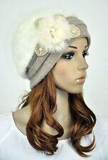 M39 Beauty Pearls Winter Wool & Rabbit Fur Lady's Cloche Hat Beanie Cap 7-Colors