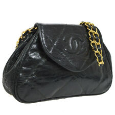 b7f1faeca134 Auth CHANEL Quilted CC Single Chain Shoulder Bag Black Lizard Leather  JT06624k