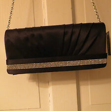Lovely Franchi Studded Silk Janet Clutch/Shoulder Bag – Black NWT