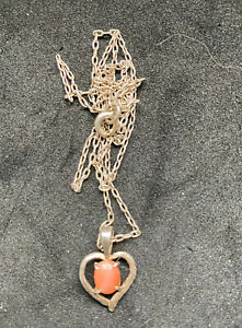 925 Sterling Silver Salmon Red Coral Heart Necklace -42cm