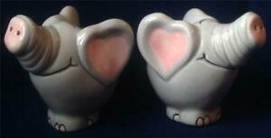 Pair ELEPHANT ceramic Salt & Pepper pots, heart shaped ears FUN NOVELTY