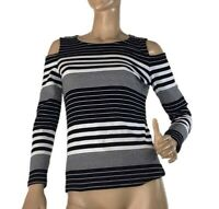 SUZANNE GRAE SIZE S KNITTED STRIPED COLD SHOULDER TOP