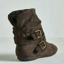 Womens Buckle Ankle Boots Ladies Fur Flat Slouch Pointed Toe Boot Shoes Size 5-9