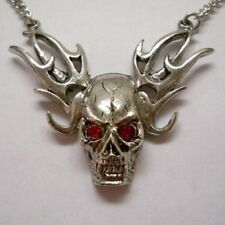 Real Metal Jewelry	Skull on Flames w Red Eyes Necklace