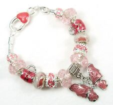 """#5012 - 7.5"""" BRACELET CORAL PINK BUTTERFLY CHARM 925 SILVER CORE EUROPEAN BEADS"""