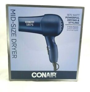 Conair Midsize Hair Dryer 1875 Watt 2 Heats/Speeds Dark Blue Model 152