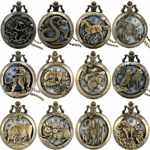 Bronze Antique Style Twelve Chinese Zodiac Quartz Pocket Watch   Necklace Chain