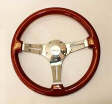 "Jeep Wrangler YJ CJ Cherokee Wood Steering Wheel 14"" with Jeep Center cap"
