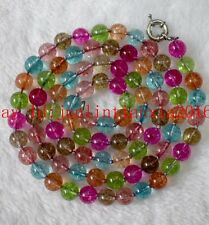 New 8mm 10mm 12mm Multicolor Tourmaline Gemstone Round Necklace Long 18-100'' AA