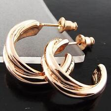 FSA124 GENUINE REAL 18K ROSE G/F GOLD SOLID TWIST STUD DROP HALF HOOP EARRINGS