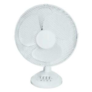 """12"""" OSCILLATING ELECTRIC DESK FAN 12 INCH 3 SPEED SILENT PORTABLE HOME OFFICE"""