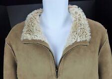 XL Coldwater Creek Faux Suede Soft Faux Fur Lining Zip Front Coat Camel Tan Jack