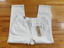 Levis White Denim Stretch Mid Rise Skinny Crop Capri Pants Size 33 34x24 P597