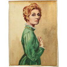 Holloway Bristol Savage Elegant Woman Redhead Green Dress Lady Portrait Painting