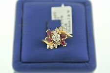 14K YELLOW GOLD 0.75 CT ROUND CUT DIAMONDS & RUBIES CLUSTER RING, S101947