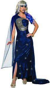 Celestial Midnight Moon Maven Adult Women's Costume Wizard Blue Velvet Gown STD