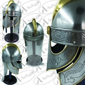 Medieval Viking Helmet with Chainmail - Crusader Helmet Warrior Armor Knight 18g
