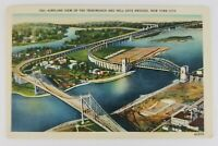 Postcard Linen Airplane View Hell Gate Bridge Queens Bronx Manhattan New York