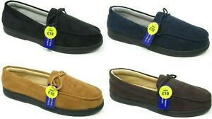 MENS GENTS FAUX SUEDE LINED MOCCASIN COMFORT SLIPPERS HARD SOLE NEW SIZE 7 - 12