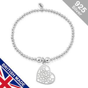 Trink Brand Flower Heart Sterling Silver Beaded Charm Bracelet