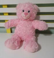 PINK BUILD A BEAR PINK TEDDY BEAR BLUE EYES LOVE HEART NOSE 40CM