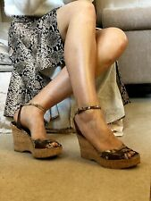 Tosca Blu, Leather, High Wedge Cork Sandals, In Snake And Bronze, 6/39, RARE