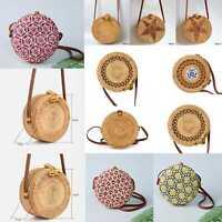 TOP Straw Bag Summer Beach Rattan Shoulder Bags Wicker Weave Handbag Crossbody