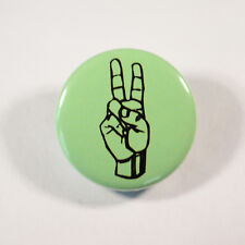"""PEACE FINGERS GESTURE Badge/Button GIFT with METAL PIN ( Size is 1"""" / 25mm)"""