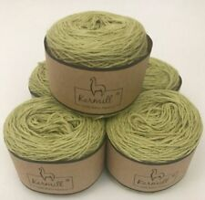 Alpaca Wool Skeins 100% Baby Alpaca Yarn Lot of 5 Celery Green Color 7805