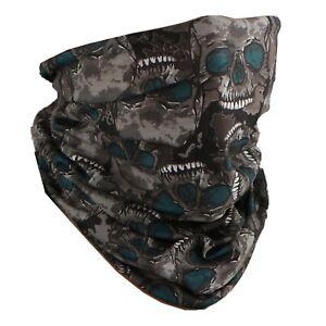 Face Mask Neck Gaiter Balaclava Neckerchief Headband Gray Skulls Face Tube
