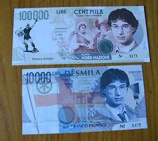 LOTTO 2 BANCONOTE LIRE 100000 10000 UMBERTO BOSSI 1996 TIRATURA LIMITATA