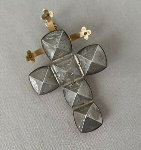 Masonic 9K Gold & Sterling Ball Fob Folding Cross Pendant or Charm;L837
