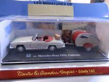 Miniature Mercedes Benz 190SL Cabriolet avec sa caravane pliante le tout au 1/43